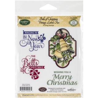 "JustRite Papercraft Mini Cling Stamp Set 3.5""X4""-Bells of Christmas 4pc"