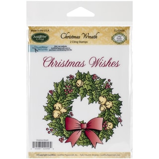 "JustRite Papercraft Mini Cling Stamp Set 3.5""X4""-Christmas Wreath 2pc"
