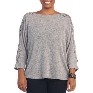 Hadari Women's Plus Size Crochet 3/4-length Sleeve Top
