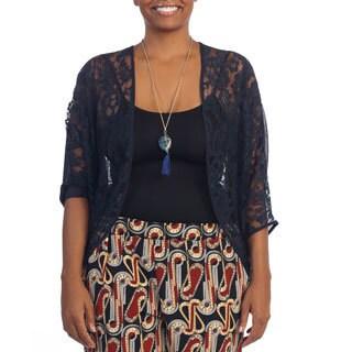 Hadari Women's Plus Size Navy Sheer Lace Cardigan