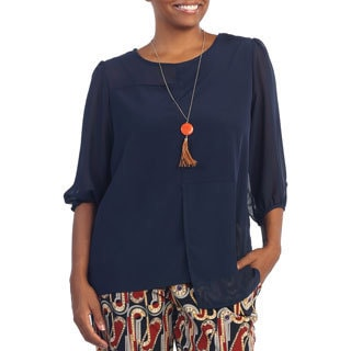 Hadari Women's Plus Size Navy 3/4-length Sleeve Sheer Blouse