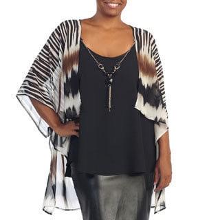 Hadari Women's Plus Size Zebra Stripe Sheer Open Cardigan