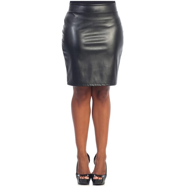 hadari s plus size black leather pencil skirt