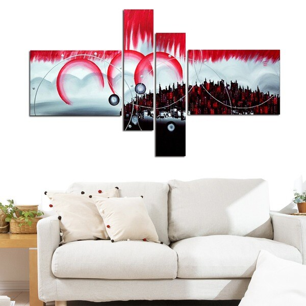 City in the Sky' 4-piece Canvas Oil Painting