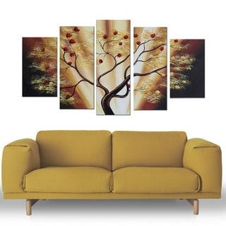 Fruitful Tree' 5-piece Landscape Oil Painting
