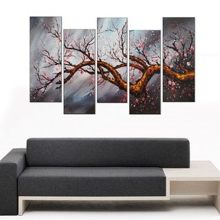 Reach' 5-piece Hand-painted Oil on Canvas