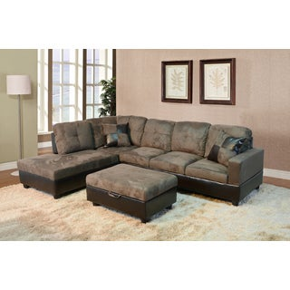 Delima 3-piece Brown Microsuede Sectional Set