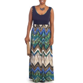 Hadari Women's Plus Size Sleeveless Multi Maxi Dress