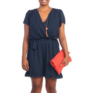 Hadari Women's Plus Size Navy Short Sleeve V-neck Romper