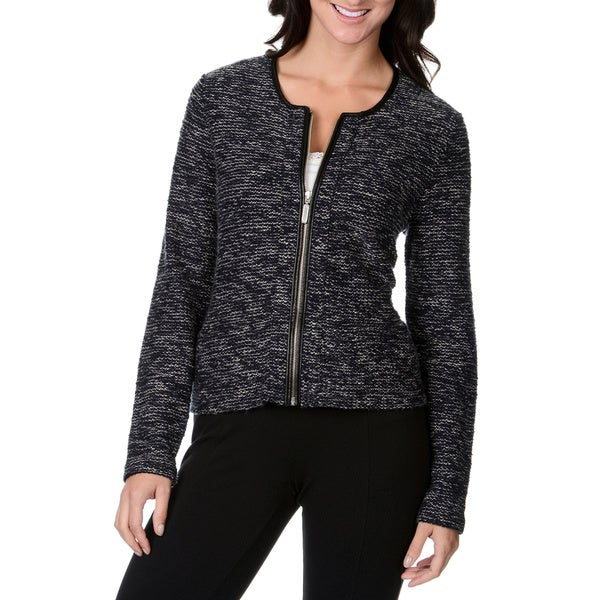 Chelsea & Theodore Women's Navy Combo Boucle Zip Jacket