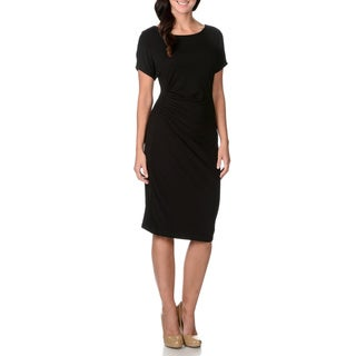 Grace Elements Women's Side Gathered Black Dress
