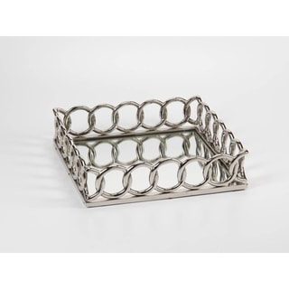 Chain Link Design SIlvertone Mirrored Tray