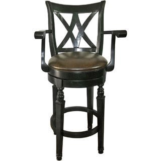 CorLiving Woodgrove Dark Cappuccino Wooden Barstool with Armrests
