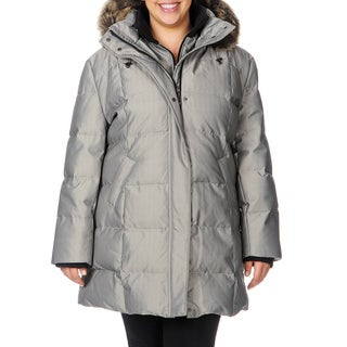 Nuage Women's Plus Size Herringbone Down Jacket