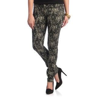 Women's 'Lace Lady' Ivory Lace Print Skinny Jeans
