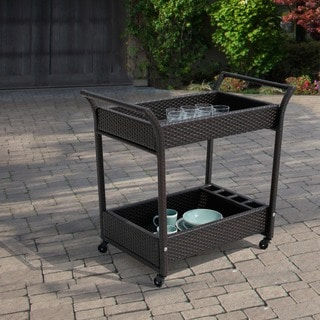 Sirio Hand-crafted Resin Wicker Outdoor Serving Cart with Glass Top