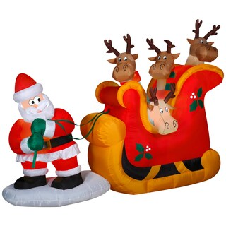 Santa Pulling A Sleigh Scene