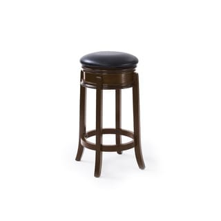 CorLiving Woodgrove Black Leatherette Dark Cappuccino Round Wooden Barstool