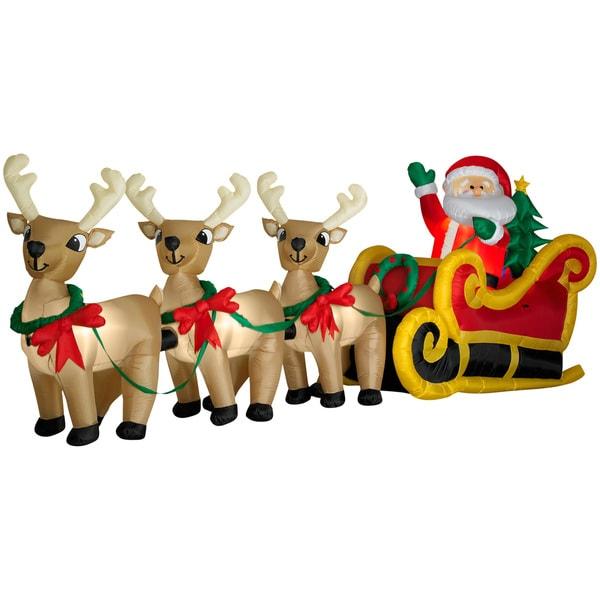 Santa In Sleigh with Three Reindeer