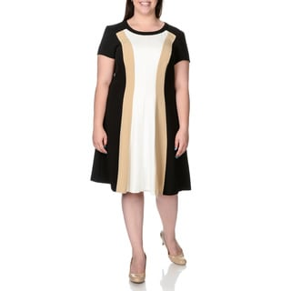 Sandra Darren Women's Plus Size Colorblock A-line Dress