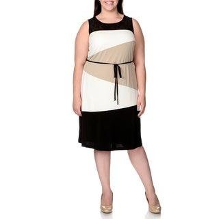 Sandra Darren Women's Plus Size Colorblock Sheer Yoke Shift Dress
