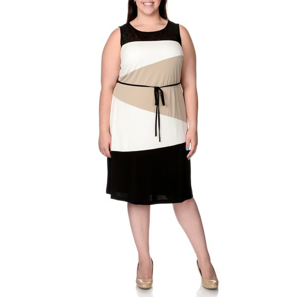Sandra Darren Women's Plus Size Colorblock Sheer Yoke Shift Dress