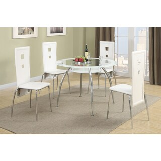 Isparta Round Dining Table with 4 Rectangular Shaped Metal Chairs