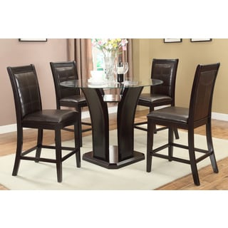Levice 5-piece Counter Height Dining Set in Dark Brown Finished