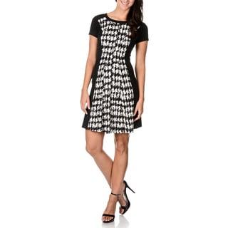 Sandra Darren Women's Inset Black/ White Houndstooth A-line Dress