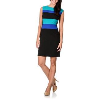 Sandra Darren Women's Striped Colorblock Black Sheath Dress