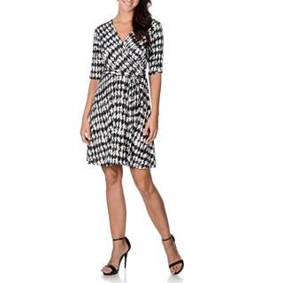 Sandra Darren Women's Houndstooth Elbow Sleeve Faux Wrap Dress