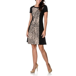 Sandra Darren Women's Black Inset Animal Print A-line Dress