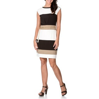 Sandra Darren Women's Colorblock Chain Link Belt Dress