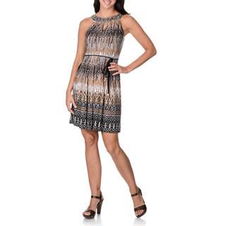 Sandra Darren Women's Studded Neckline Chevron Print Dress