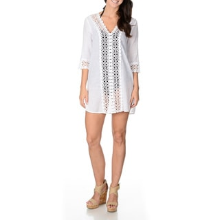 Club Z Women's White V-neck Crochet Trim Detail Tunic