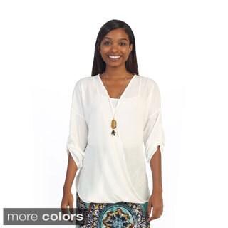 Hadari Women's Casual Roll-tab Sleeve Top