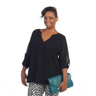 Hadari Women's Plus Size Sheer Mid-sleeve Henley Top