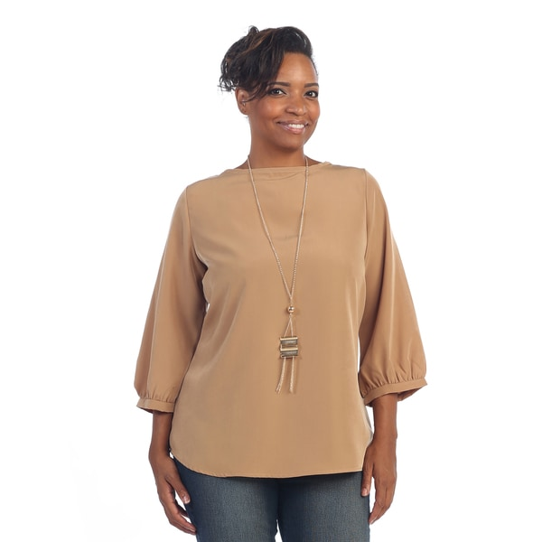 Hadari women s plus size boatneck 3 4 length sleeve blouse