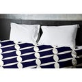 68 x 88-inch Bisque and Spring Navy Geometric Duvet Cover
