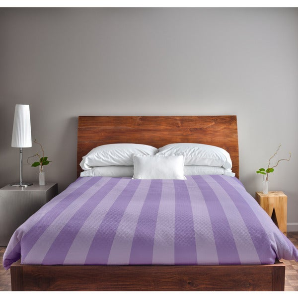 68 x 88-inch Lilac and Heather Stripe Duvet Cover