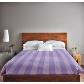 88 x 88-inch Lilac and Heather Stripe Duvet Cover