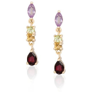 Dolce Giavonna Gold Over Sterling Silver Multi-gemstone Dangle Earrings