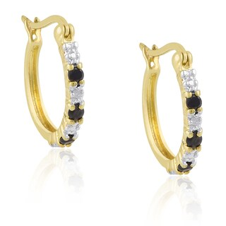 Dolce Giavonna Gold Over Sterling Silver Sapphire Diamond Accent Hoop Earrings