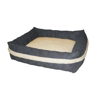 Pintuck Suede Rectangle Bolster Sandbox Pet Bed