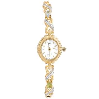 JWI Women's Goldtone Diamond Accent and Gemstone Watch