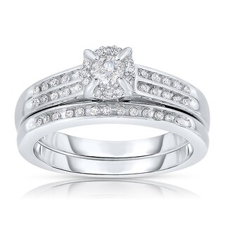 Sterling Silver 1/3ct TDW Diamond Bridal Ring Set (I-J, I2-I3)