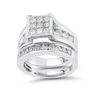 10k White Gold 2 2/5ct TDW Diamond Bridal Set (I-J, I1-I3)