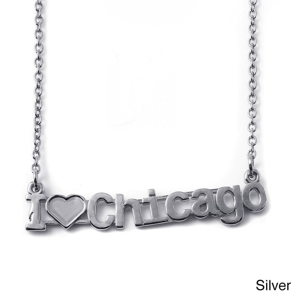 Sterling Silver I Love Chicago City Nameplate Necklace