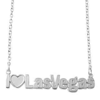 Sterling Silver or Gold Over Silver I Love Las Vegas City Nameplate Necklace