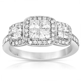Eloquence 14k White Gold 1 1/4ct TWD Diamond Three Stone Ring (G-H, I1-I2)